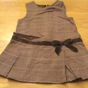 Gymboree Girls Plaid Dress w/ Brown Velvet Band 4T
